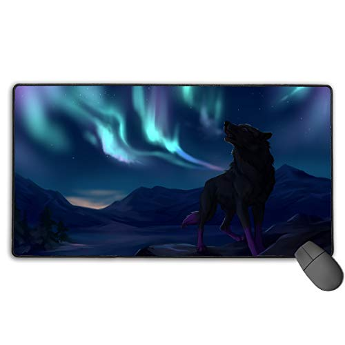 Extended Gaming Mouse Pad Fantasy Wolf Howl Art Rectangle Rubber Mousepad 29.53 X 15.75 Inch Anti-Slip XXL Computer -