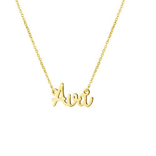- Awegift Name Necklace Big Initial Gold Plated Best Friend Jewelry Women Gift for Her Ava