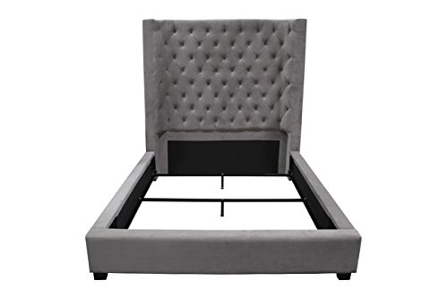Best Master Furniture YY128 Jamie Upholstered Tower Contemporary Bed, Queen, Grey