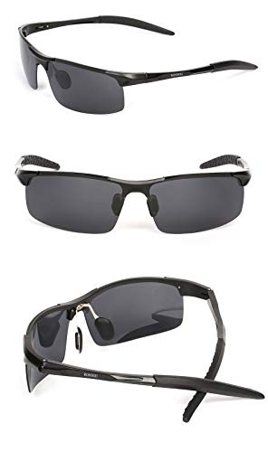 6c9a3e9384 Ronsou Men Sport Al-Mg Polarized Sunglasses Unbreakable For Driving Cycling  Fishing Golf