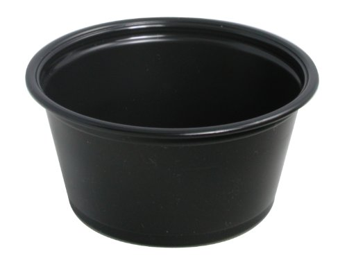 """Dart 200PCBLK Conex Complements 2.4"""" Top And 1.2"""" Bottom Diameter, 1.8"""" Height 2 oz Plastic Black Portion Container (20 Packs of 125)"""