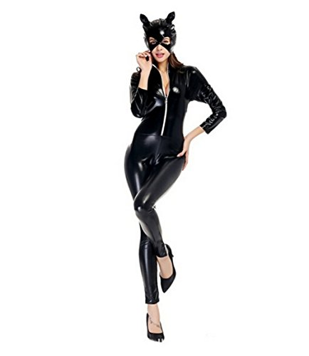 (LifeWheel Women Halloween Accessory Jumpsuits Catwoman Cosplay Tight Costumes Adult)