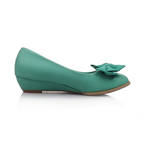 Balamasa Womens Bows Zeppe Tomaie Basse Tomaia In Punta Di Uretano Pompe-scarpe Verdi