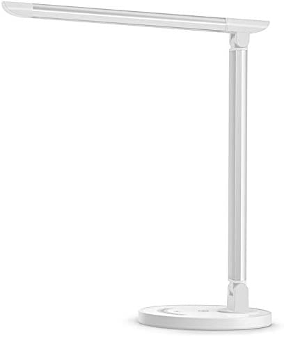 TaoTronics LED Desk Lamp, Eye-caring Table Lamps, Dimmable Office Lamp with USB Charging Port, 5 Lighting Modes with 7 Brightness Levels, Touch Control, White, 12W, Philips EnabLED Licensing Program