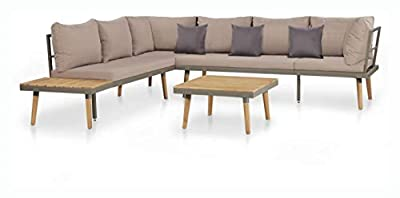 PROGLEAM Outdoor Furniture Set, 4 Piece Garden Lounge Set with Cushions Solid Acacia Wood Brown