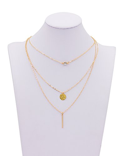 Zealmer Layered Pendant Bar Disc Necklace Gold Tone For Women