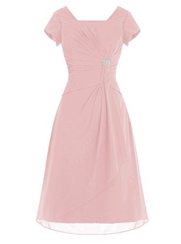 Alagirls Short Chiffon Bridesmaid Dress Cap Sleeves Prom Evening Dress Blush Us18plus
