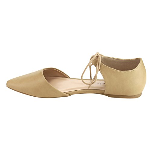 Donne Classificate If07 Lace Up Dorsay Point Toe Flats Oatmeal