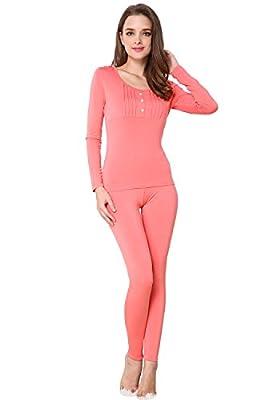 Godsen Women's Scoop Neck Thermal Underwear Long Johns Set