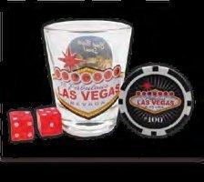 LAS VEGAS SHOT GLASS, $100 BLACK POKER CHIP & PAIR OF MINI RED DICE SET