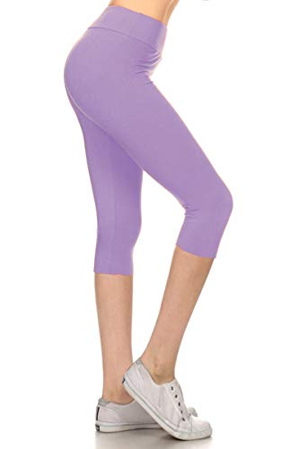 LYCPR128-LAVENDER Yoga Capri Solid Leggings, One Size