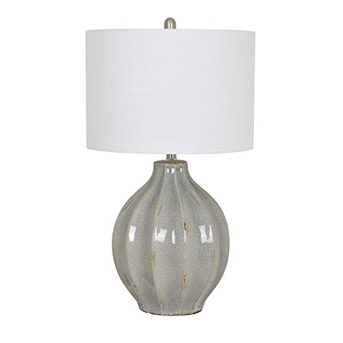 - Crestview Collection Perry Gray Ceramic Fluted Urn Table Lamp