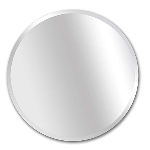 Light Wall Beveled (MIRROR TREND 28-Inch Round Frameless Mirror Large Beveled Wall Mirror | Solid Core Wood Backing | Wall Mirror for Bathroom, Vanity, Living Room, Bedroom)