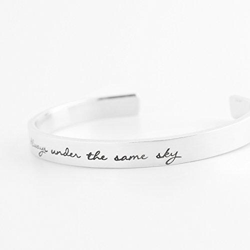 Always Under the Same Sky Hand Stamped Skinny Cuff Bracelet - Aluminum