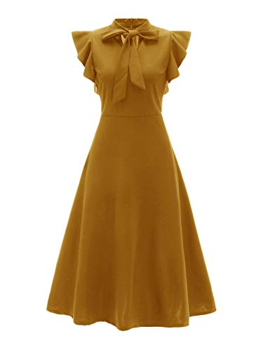 (Verdusa Women's Elegant Ruffle Trim Tie Neck Flutter Sleeve A-Line Dress Ginger XS)