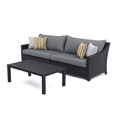 RST Brands 2-Piece Deco Sofa and Coffee Table Set with Cushions, Charcoal Grey