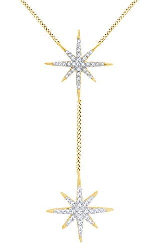 AFFY Round White Cubic Zirconia Starburst Pendant in 14k Yellow Gold Over Sterling Silver