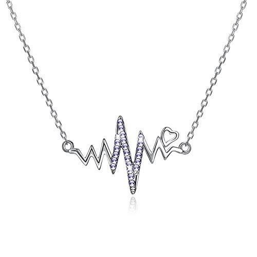 - Necklace Purple Crystal Gems Pendant Brain Wave Style Necklace 925 Sterling Silver Pendant Chain for Women,Girl (Hearts)