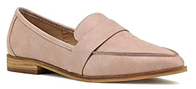 Beast Fashion Logan-02 Women Pointy Toe Slip On Loafer Flat Pink Size: 6