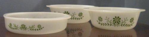 - Jeanette Glasbake Round Milk Glass Green Daisy Dish