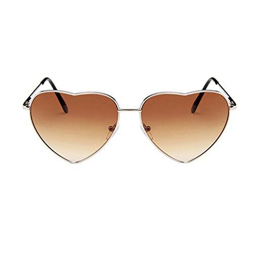 Marrón Sunglasses LINNUO Mujer de Hombres de Eyewear Retro Plata Sol Aviador de Marco Metal Forma Corazón Colores Gafas Marco YAagAqRw