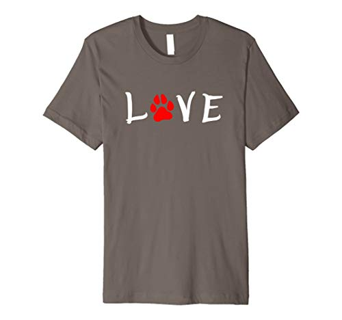 LOVE - I Love My Dog T-shirt with Puppy Paw Print Design