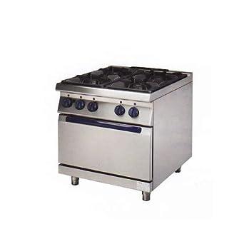 Cocina profesional con 4 fogones de gas horno+cm 80x70x85 RS0753 ...