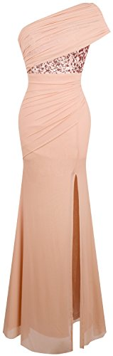 Angel-fashions Women's Ruched One Shoulder Sequin Split Wrap Evening Dress Large ()