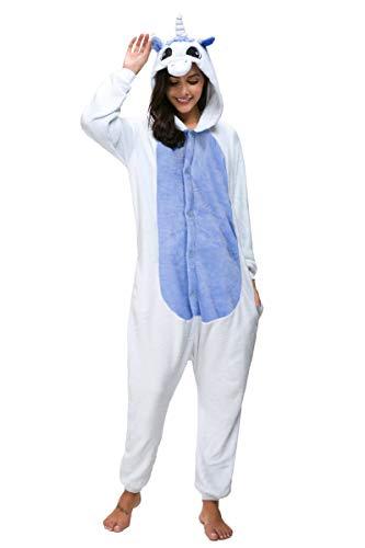Adult Unisex Pajamas Animal Cosplay Halloween Costume Hoodie Sleepwear (M, Deep Blue)]()