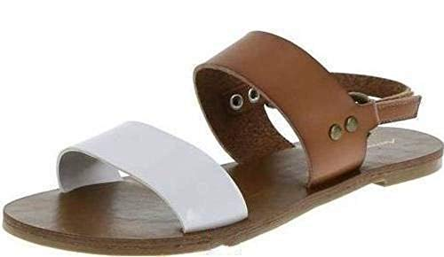 - American Eagle AE Little Big Girls Andi Flats Sandals Shoes (5, Brown/White)