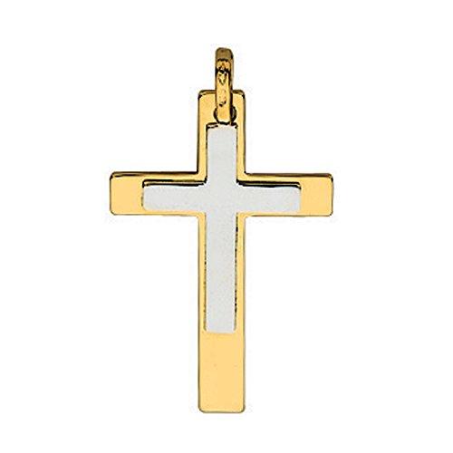 So Chic Bijoux © Pendentif Bicolore Croix Grise sur Croix Jaune Or Jaune 750/000 (18 carats)