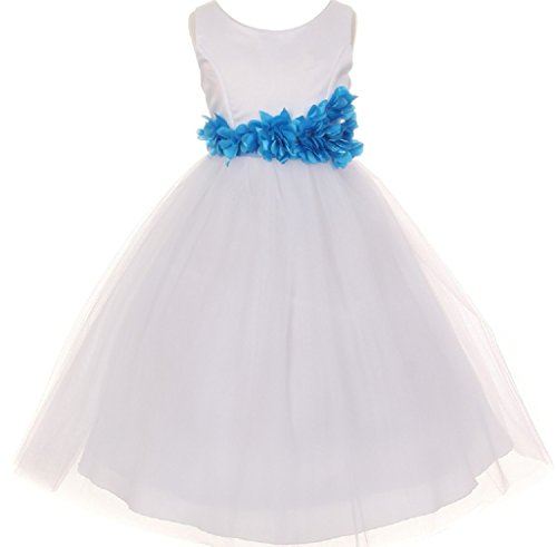 Little-Girls-White-Elegant-Satin-Tulle-Ribbon-Sash-Flowers-Girls-Dresses
