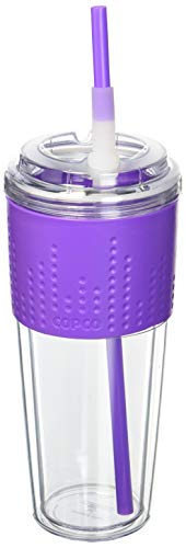 Copco 2510-2147 Lock-N-Roll Double Wall Travel Tumbler with Soft Grip Body and Flip Up Straw, 20-Ounce, Purple ()