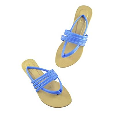 D'Crush Blue Flat Sandal For Women