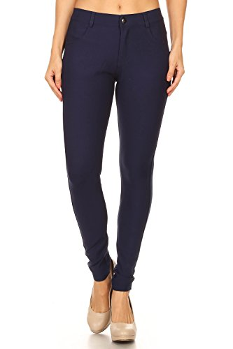 ICONOFLASH Women's Ponte Knit Dress Pants (Navy, Large)