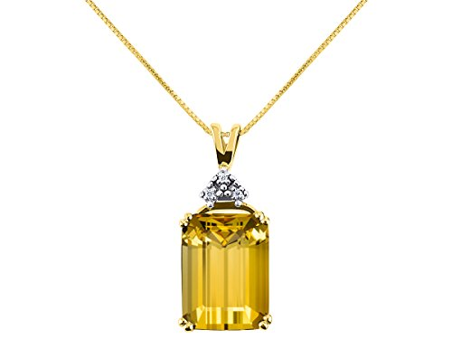 - Gorgeous 16X12 Emerald Cut Citrine/Yellow Topaz & Diamond Pendant set in Yellow Gold Plated Silver with 18