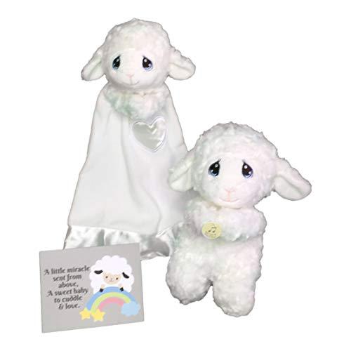 (Aurora World Precious Moments Praying Plush Luffie Lamb 10 Toy, Bundled with Luvster Luffie Lamb Plush Blanket, and Bonus Baby Gift Greeting Card )