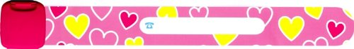[Infoband Child Safety ID Wristband - Pink Hearts] (Pearl Id Bracelet)