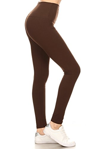 """LY5X128-BROWN 5"""" Waistband Yoga Solid Leggings, Plus Size"""