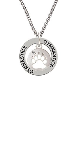 Bear Paw Silhouette - Gymnastics Affirmation Ring Necklace