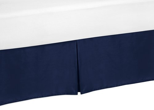 Sweet Jojo Designs Solid Navy Blue Toddler Bed Skirt for Plaid Collection Kids Boys Bedding Sets