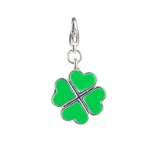 - Fabulous Trendy Green Lucky Clover Shaped Clip On Pendant Charm For Bracelets Bangles By VAGA©