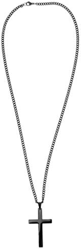 全3色 クロスネックレス メンズ 十字架 ペンダント 十字架 ネックレス ステンレス製 - ブラック