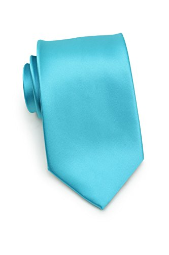 Bright Aqua Apparel - Bows-N-Ties Men's Necktie Solid Color Microfiber Satin Tie 3.25 Inches (Bright Aqua)