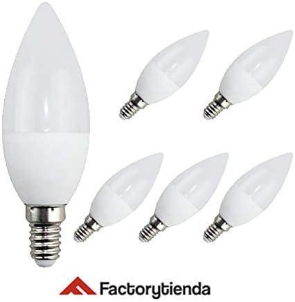 Pack 6 Bombillas LED C37, 7W,(equivalente a 70W), casquillo E14, 560 lumen, luz fría 6400K(no regulable): Amazon.es: Iluminación