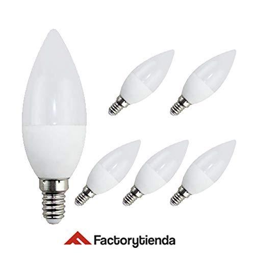 Pack 6 Bombillas LED C37, 7W,(equivalente a 70W), casquillo E14