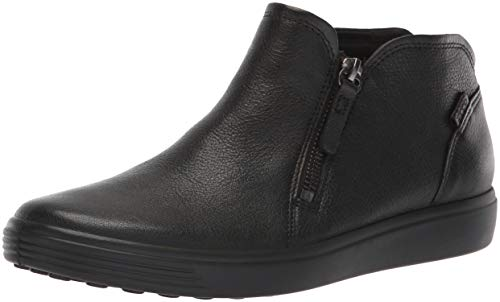 ECCO Women's Women's Soft 7 Low Zip Bootie Sneaker, Black, 39 M EU (8-8.5 US)