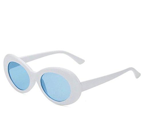 Kurt Cobain Style Sunglasses Men Women Oval Retro Clout Goggles White - Style Kurt Sunglasses Cobain