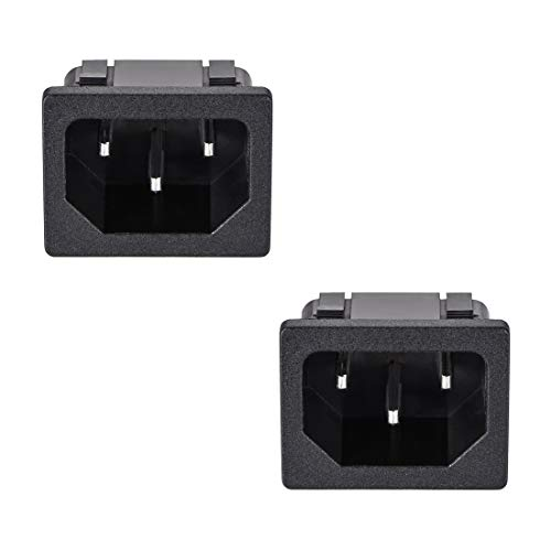 uxcell C14 Panel Mount Plug Adapter AC 250V 10A 3 Pins IEC Inlet Plug Power Connector Socket Staight Pack of 2