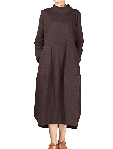 Mordenmiss Women's Autumn Turtleneck Long Baggy Dress with Pockets XL Coffee